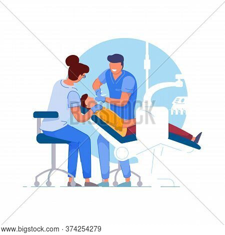 Dentist Patient. Doctor Specialist And Assistant Using Tools, Examining Or Treating Patient Teeth. P