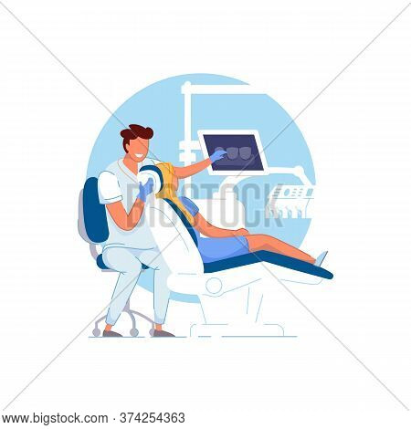 Orthodontist Office. Doctor Orthodontist Examining, Showing Teeth X-ray Picture To Patient Woman. Pe