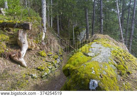 Hillside Trail. Austrian Alps, Tyrol, Surroundings Of The Mayrhofen Ski Resort.