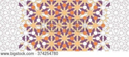 Moroccan Arabesque Vector Decor. Geometric Halftone Moroccan Decor With Color Tile Disintegration.