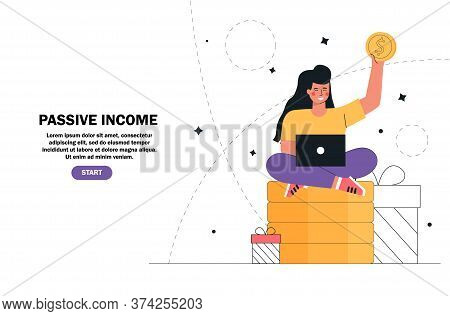 Flat Cartoon Vector Illustration Young Girl Sitting On A Stack Money, Gold Coins With Laptop. Passiv