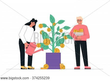 Concept Man And Woman Watering Money Tree. Passive Income, Investment, Finance Savings.