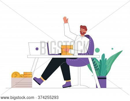 Young Businessman Sitting, Relaxing And Making Money Passively. Finance, Investment, Wealth, Passive