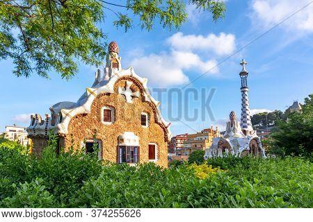 Guell Park Pavilion In Summer, Barcelona, Spain