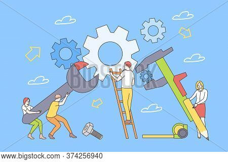Education, Training, Repair, Teamwork, Business Concept. Young Team Men Women Boys Girls Students Wo