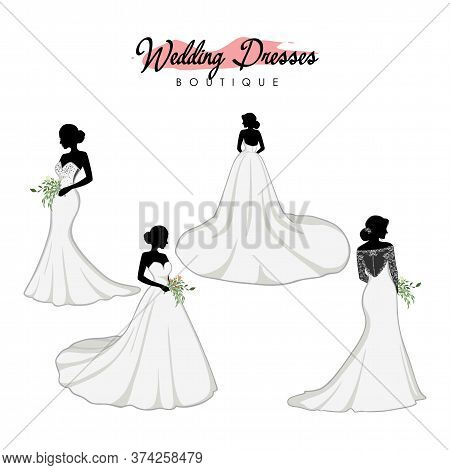 Beautiful Bridal Dress Boutique Logo Ideas Set, Fashion, Beautiful Bride, Vector Design Template