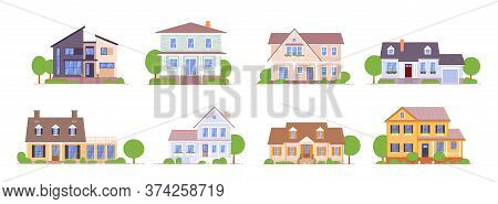 Suburban House. Urban And Suburban Cottage, Town House Icon Set Isolated On White Background. Reside