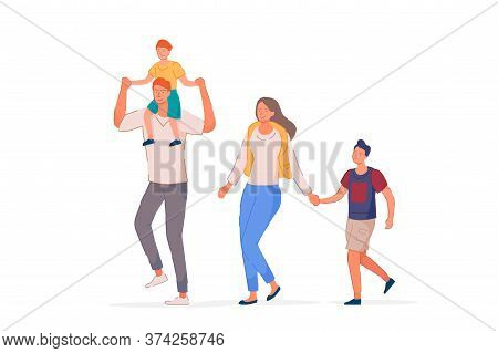 Happy Family. Smiling Mother, Father And Children Performing Outdoor Recreational Activity. Parent W