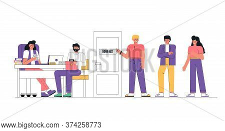 Group Of People Standing In Door, To The Manager Job Interview. Hr Manager Sits At A Laptop And Hold
