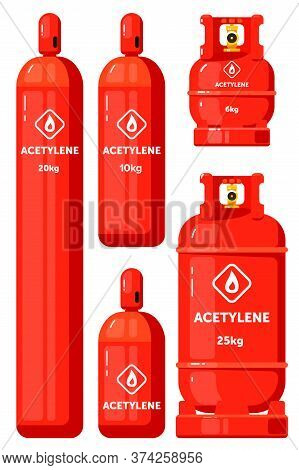Acetylene Gas Tank. Compressed Acetylene In Gas Container Icon Vector Illustration. Flammable Storag