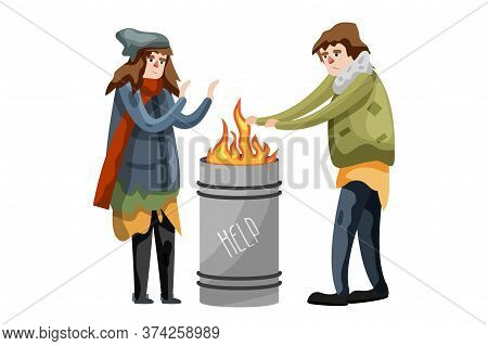 Illegal Immigrant. Poor Hungry Character Warm Standing At Metal Barrel With Burning Fire Isolated On