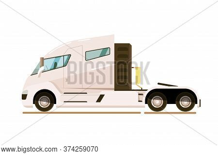 Delivery Truck. Modern Tractor Unit For Pulling Semi-trailer Isolated White Background. Delivery Tru