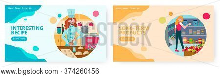 Conserve Food Storage Room. Woman Chef Cooking Pastry Products In The Kitchen. Concept Illustration.