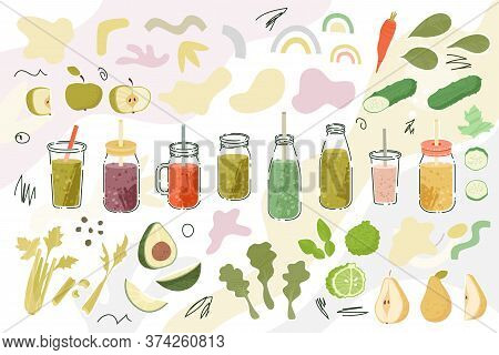Individual Vector Elements With Smoothies Or Vegetable Juices In Jars, Abstract Shapes, Fruits And V