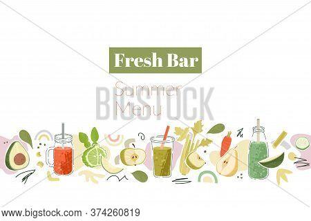 Smoothies Seamless Horizontal Border With Fresh Bar Summer Menu Words.
