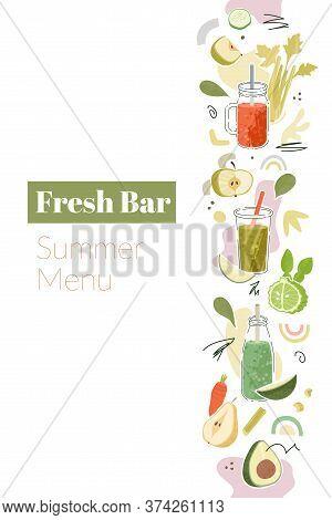 Smoothies Seamless Vertical Border With Fresh Bar Summer Menu Words.
