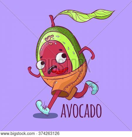 Avocado On The Run Sport Tropical Fruit Health Nutrition Paleo Keto Vegetarian Diet Botanic Nature H