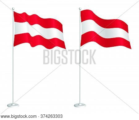 Flag Of Republic Of Austria On Flagpole Waving In The Wind. Holiday Design Element. Checkpoint For M