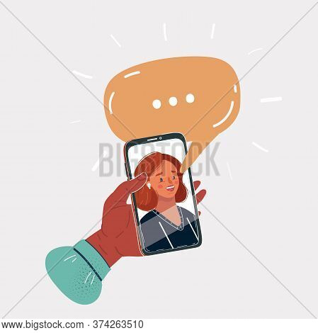 Vector Illustration Of Young Woman Face On Phone Screen. Talking Online Video Chat. Speech Bubble Ab