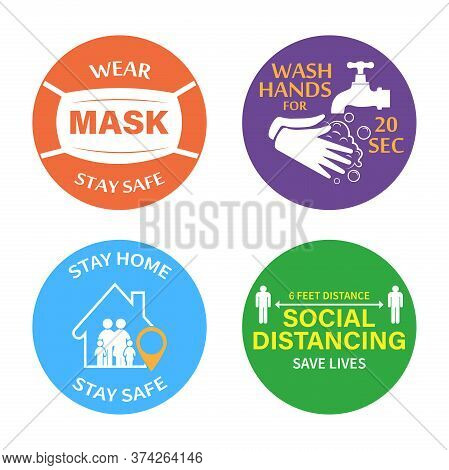 Protection From Covid-19.set Of Color Stickers Wear A Mask, Wash Your Hands, Stay At Home, Social Di