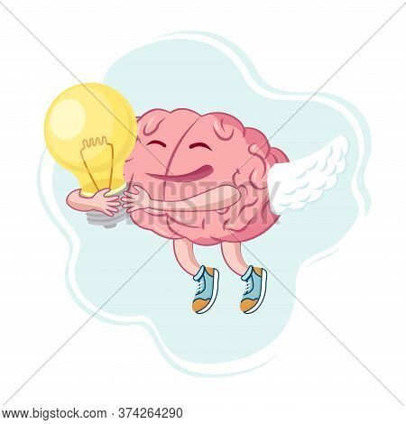 Brain Character Inspired By The Idea Soars Up.the Brain Holds The Light Bulb. A Symbol Of A New Idea