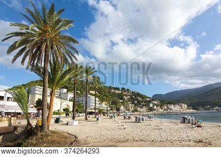 Port Soller Beach In Mallorca, Balearic Islands, Spain