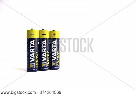 Kiev, Urkaine, 18 June 2020, Three Varta Aa Alkaline Batteries Are On White Background, Isolated, Go