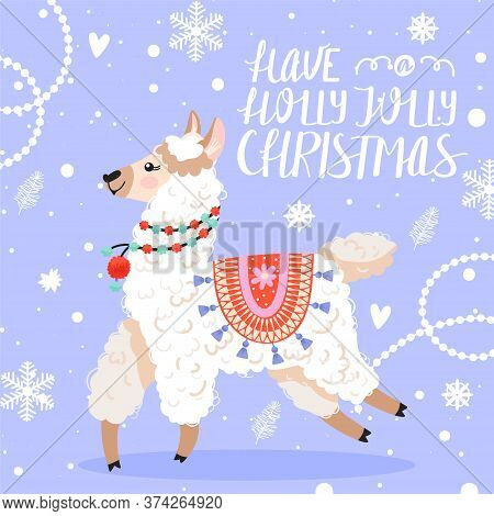 Happy New Year Greeting Card. Cute Cartoon Llama With Christmas Decorations. Calligraphy Phrase