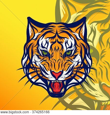 Aggressive Angry Tiger Head Vector Design. Best Illustration Design For Your Element Design. Vector