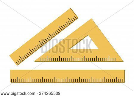 Ruler, Triangle Ruler Icon Isolated On White Background. Vector Illustration