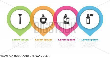 Set Makeup Brush, Perfume, Cream Or Lotion Cosmetic Tube And Perfume. Business Infographic Template.