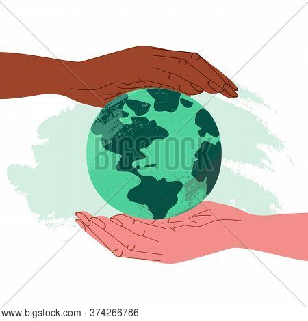 Hand Of African American And Fair-skinned Human In Cartoon Style Holds The Planet. Concept Of Equali