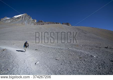Solo Trekker On Mountain, Enjoying In Nature, Landscape Photography