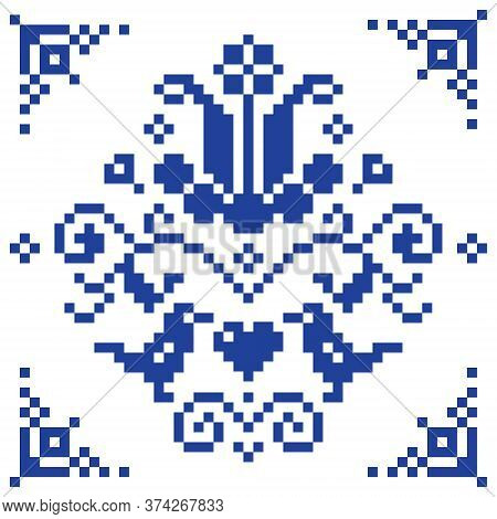 Retro Cross-stitch Vector Floral Pattern, Folk Background Inspired By Old German And Austrian Style
