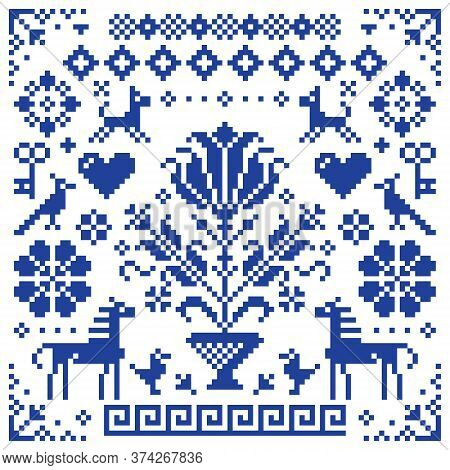 Retro Cross-stitch Vector Seamless Pattern, Background Inspired By Old German And Austrian Style Emb