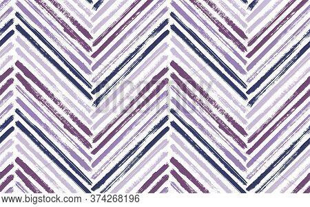 Scandinavian Chevron Interior Print Vector Seamless Pattern. Paintbrush Strokes Geometric Stripes. H