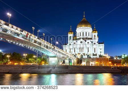 Cathedral Of Christ The Savior (khram Khrista Spasitelya) And Patriarshy Bridge At Night In Moscow,