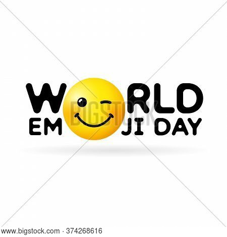 World Emoji Day Vector Template Design Illustration. Concept For Smile Day With Wink In Text. Line I