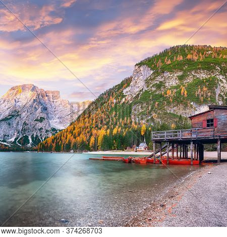 Marvelous Scenery Of Famous Alpine Lake Braies At Autumn. Location:  National Park Fanes-sennes-brai