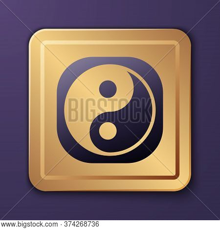 Purple Yin Yang Symbol Of Harmony And Balance Icon Isolated On Purple Background. Gold Square Button