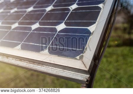 Old Solar Panels Gate House Opening Photovoltaic Electric System For Village