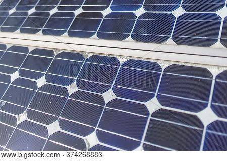 Old Small Solar Panel Photovoltaic Electric System For Home In The Village. Alternative Energy Conce
