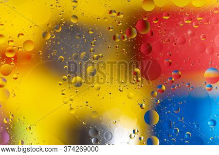 The Abstract Composition With Oil Drops In Water. A Lot Of Round Drops.