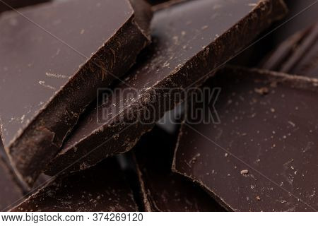 Dark Chocolate Cracked Pieces Close Up Macro