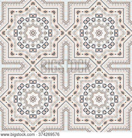 Flat Moroccan Zellige Tile Seamless Pattern. Geometric Texture Vector Motif. Velum Print Design. Tra
