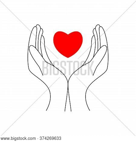 Hands Holding Heart Icon. Simple Filled Hands Holding Heart Icon. On White Background. Black And Red