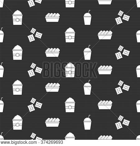 Set Milkshake, Cracker Biscuit, Popcorn In Box And Chicken Nuggets In Box On Seamless Pattern. Vecto