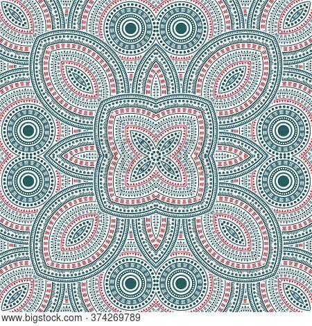 Beautiful Italian Maiolica Tile Seamless Ornament. Geometric Texture Vector Motif. Velum Print Desig