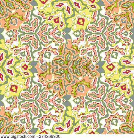 Modern Floral Seamless Pattern In Bright Summer Positive Colors. Mandala Medallion Fluid Leaves Orna