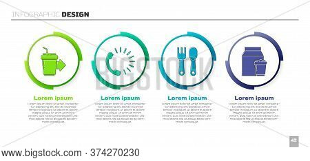 Set Coffee Cup To Go, Food Ordering, Fork And Spoon And Online Ordering And Delivery. Business Infog